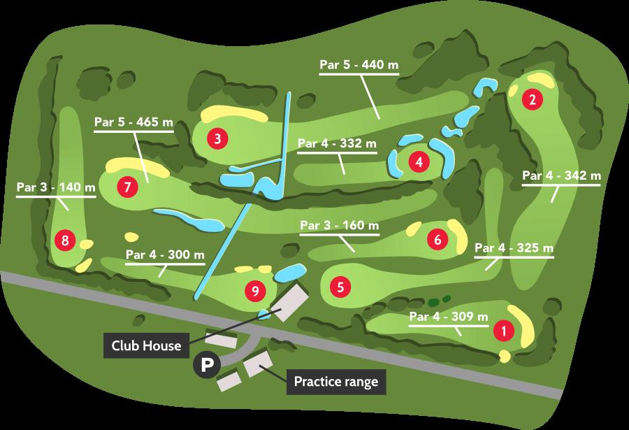 Parcours golf printemps-été - Golf de barthe